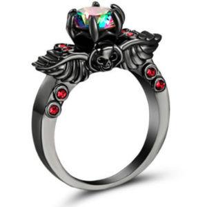 Jewelry - Mystic Rainbow Topaz 10KT Gold Fill Black Ring 8